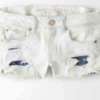AEO 's Destroyed Denim Shortie (Light Ultra Bleach)