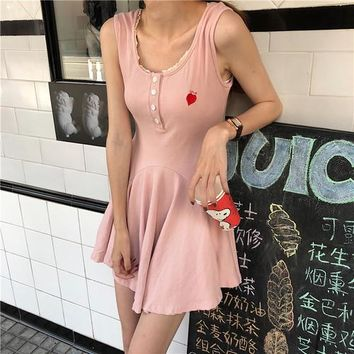 Ukraine Summer Harajuku kawaii lace stitching waist was thin cotton comfortable can heart embroidered vadim party vest dress
