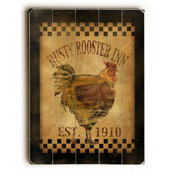 Rusty Rooster Inn by Artist Beth Albert Wood Sign