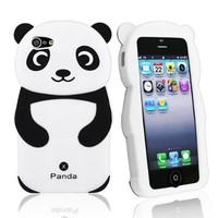 Leegoal(TM) Black/White Cute 3D Panda Silicone Rubber Soft Case Cover Fit for the New iPhone 5 5S With Accessories Sreen Protector,Anti Dust Plug