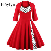 FLOYLYN S-5XL Elegant Dots Vintage Red Dress  Rockabilly 50s Dress  Plus Size Retro Party Dress