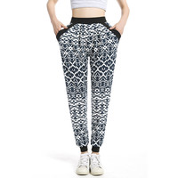 Hot Sale Women Harem pants Ethnic Plus Size Jogger Pant Pleated Casual long Sweatpant With pocket Printed Trousers