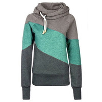 Color Block Patchwork High Neck Sport Hoodie