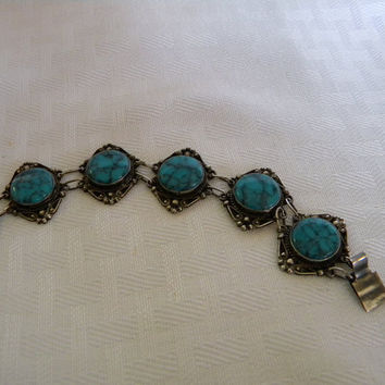 Vintage Mexican silver and turquoise bracelet signed vintage jewelry