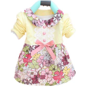 Toddler Baby Girls Floral Princess Dress Bowknot One Piece Kids Dress 0-2Y