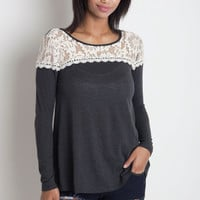 Lace Detail Top - Grey