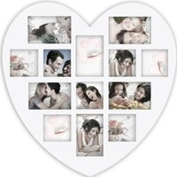 Adeco Decorative White Wood Wall Hanging Heart-Shaped Hanging Picture Photo Frame, 4 x 6-Inch