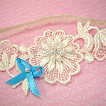 Ivory Garter, Ivory Floral lace Applique garter, Bridal Garter with blue ribbon bow