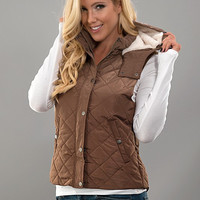 Quilted Fall Vest - Camel