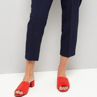 Red Suedette Heeled Mules