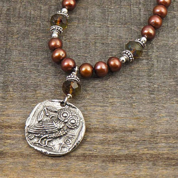 Pearl owl necklace, dark brown earthtones, Greek coin inspired 19 3/4 inches 50cm