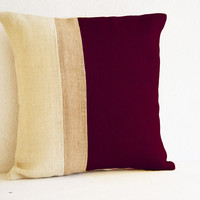 Outdoor Pillows - burgundy burlap pillow color block - Maroon White Decorative cushion cover- 18x18pillows - Burgundy White Euro Sham