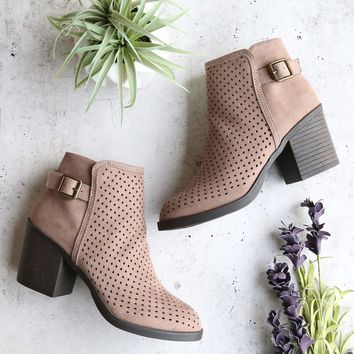 diamond perforated back buckle faux suede ankle bootie - light taupe