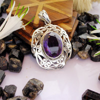 Jewelry 925 Sterling Silver Amethyst Pendant