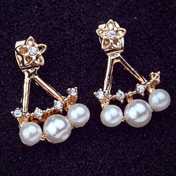 ES837 Women's Stud Earrings Flower Back Cuff Ear Jewelry Simulated Pearls Party Earring Gothic Brincos Fashion