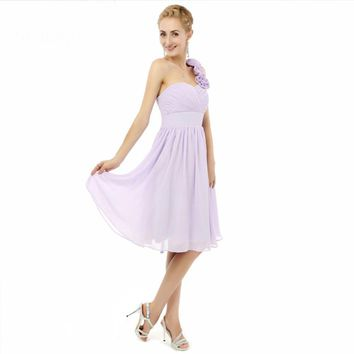 One shoulder Chiffon Knee length Short bridesmaid dresses