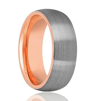 Tungsten Wedding Band - Men and Women - Comfort Fit - Rose Gold Round Domed - Brushed Tungsten Carbide Wedding Ring - 2mm - 5mm - 7mm - 8mm
