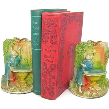 Cast Iron Bookends - Antique 1920s Art Nouveau - Girl Drinking at Lion Font Fountain - Colorful Air-brushed - Home Decor - Book Lover Gift