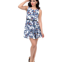 Ivory & Blue Floral Belted Fit N Flare Dress
