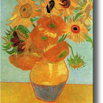 Still Life Vase with Sunflowers By Vincent Van Gogh on Acrylic , Wall Art Decor Ready to Hang!.