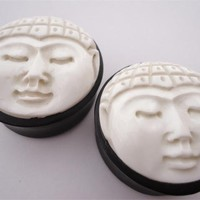 Carved Buddha Face Plugs (2 gauge - 1 & 1/4 inch)