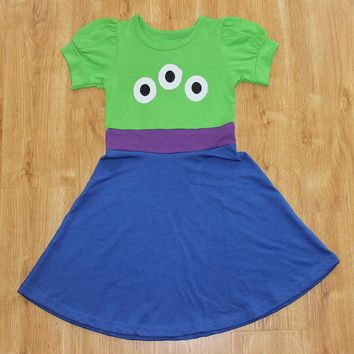 Girls Summer Alien Dress Princess Cosply Birthday Dresses Costume for Kids Clothing Unicorn Party Dresses