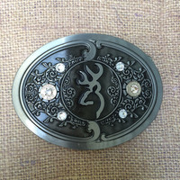 Silver and Crystal Browning Belt Buckle