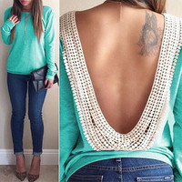 Green Lace Backless Long Sleeve T-Shirt