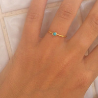 Holiday SALE! ONE stackable ANY birthstone ring-Turquoise gold ring-Simple ring-Thiny ring-Delicate ring-Bezel ring- All stones ring