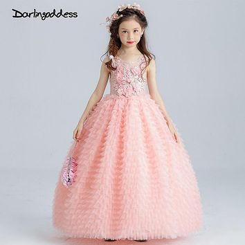 Peach Pageant Dresses for Girls Glitz Puffy Flower Girl Dresses Floor Length Ball Gown Little Kids First Communion Dress 2017