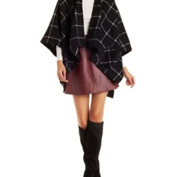 Double Zero Plaid Heavyweigt Fleece Poncho