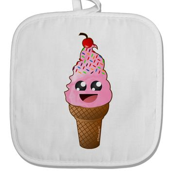 Cute Ice Cream Cone White Fabric Pot Holder Hot Pad