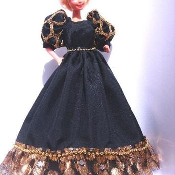 """Fashion Doll Evening Gown OOAK 11.5"""" Black and Gold dress with ruffle and pearl-like trims 11 1/2 inch doll gown"""