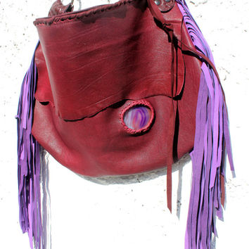 Purple & burgundy leather medium bohemian purse fringed fringe bag southwest southwestern navajo festival gypsy tribal ethnical elvish OOAK