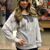 Ombre Fringe Sweater top in Gray