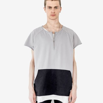 Cut-Off Color Blocked Kangaroo Sweatshirt Tee in Gray/Black