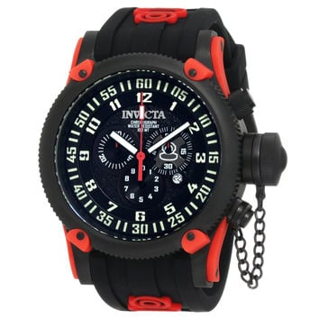 Invicta 10179 Men's Russian Diver Black Ion Plated Steel Black Dial Red Accents Black Rubber Strap Chronograph Watch