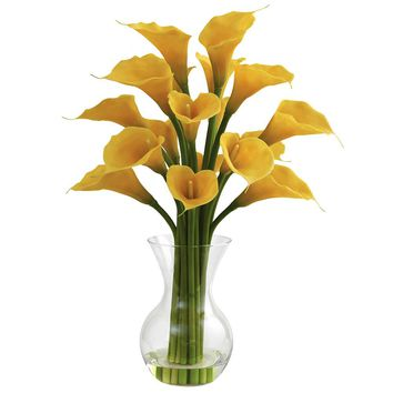Silk Flowers -Galla Calla Lily With Vase Artificial Plant