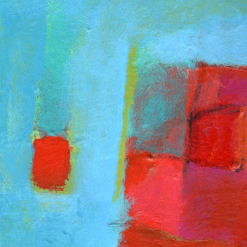 Modern Art Abstract Print - Small Wood Block Prints - Turquoise Red Art - Canvas Art - Art on Canvas