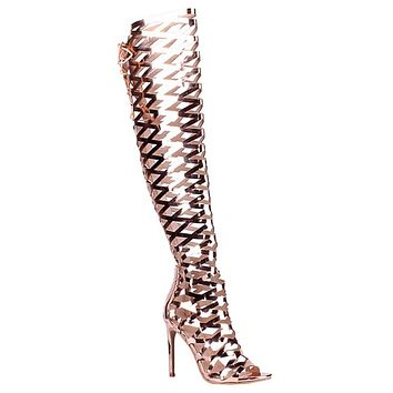 Caged Over The Knee Boots - Rose Gold
