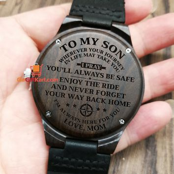 Son Mom Pray Wooden Watch