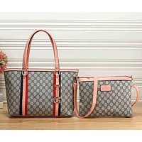 Gucci Trending Ladies Fashion Letter Print Leather Shoulder Bag Satchel Tote Handbag Crossbody Set Two Piece Pink I