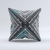 The Ethnic Aztec Navy Point ink-Fuzed Decorative Throw Pillow