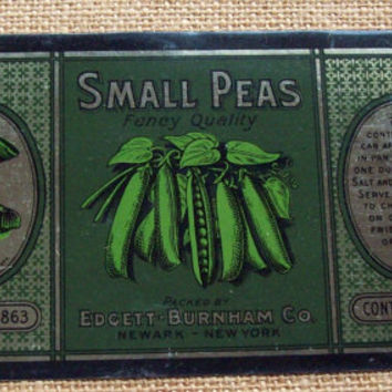 Vintage Edgett-Burnham Peas Can - Sanitary Can Co.  1917? Antique, Old Printed Tin Can