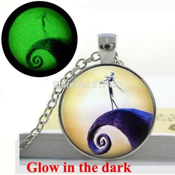 Glow in the Dark Necklace Pendants Nightmare Before Christmas Silver Necklace glass cabochon necklace glowing jewelry