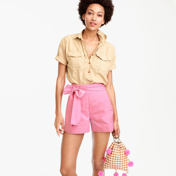 Tie-waist short in cotton poplin : Women novelty | J.Crew