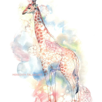 Giraffe Painting - Original Watercolor - 8x10 Print - Safari Theme - Jungle Nursery Art - Baby Shower Gift - Animal Lover Gift - Wall Decor