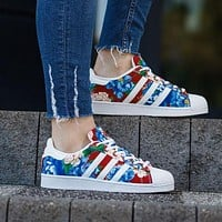 """Adidas"" Superstar Shell toe Floral Print Casual Sneakers"