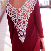 Burgundy Crochet Lace Back Long Sleeve T-shirt