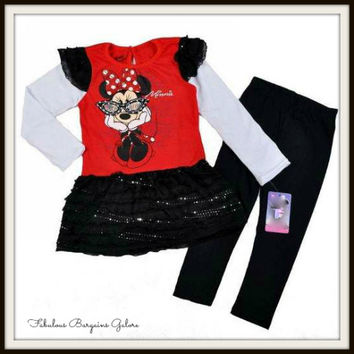 Girls Minnie Mouse Sparkly Top/Dress Like and Leggings Outfit